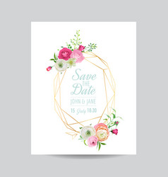 wedding invitation floral template vector image vector image