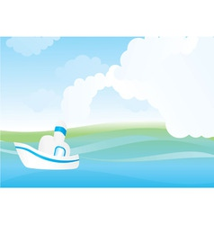 white sea boat vector image vector image