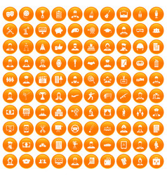 100 career icons set orange vector