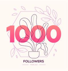 1000 followers banner - modern flat design style vector image