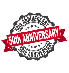 50th anniversary stamp sign seal vector