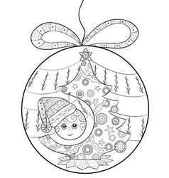 adult coloring bookpage a christmas decoration vector image