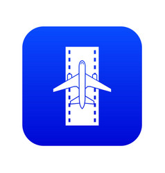 Airplane on runway icon digital blue vector