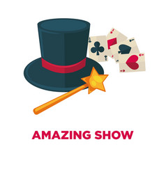Amazing show promotional poster with magic tricks vector