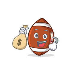 american football character cartoon with money bag vector image