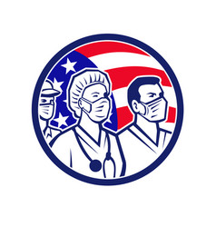 American healthcare worker heroes usa flag icon vector