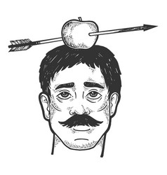 apple on shot with arrow sketch engraving vector image