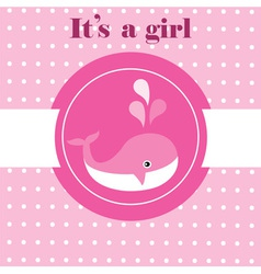 baby whale pink vector image