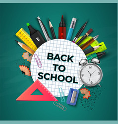 back to school concept 3d school education vector image