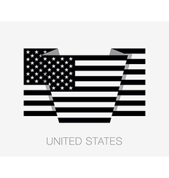 Black and White American Flag Flat Icon vector image