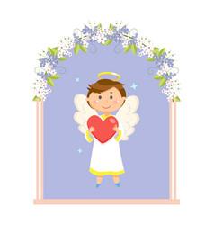 boy angel in wedding flower arch valentines day vector image