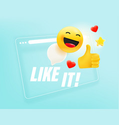 Browser window with with different emoji i like vector