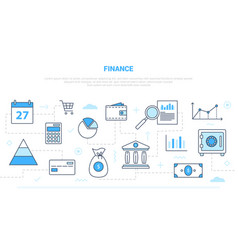 Business finance concept with icon line style vector