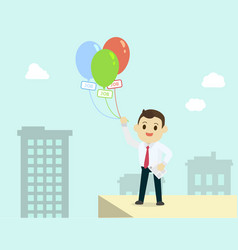 Businessman holding colorful balloon with job vector