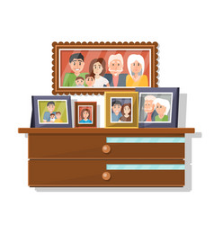 cartoon family portraits on wardrobe vector image