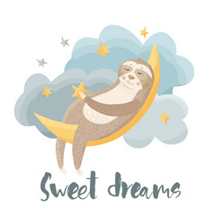 cartoon sloth dreaming lazy bear vector image