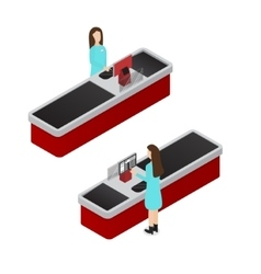 Cashier Isometric View vector