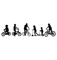 children silhouettes riding bicycles and scooters vector image
