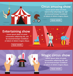 Circus show banner horizontal set flat style vector