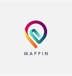 clip map pin logo icon office pin logo icon vector image