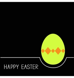 Colored Happy Easter egg White line Green on black vector