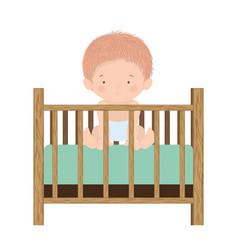 Cute baboy inside cradle design vector