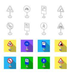 Different types of road signs outlineflat icons vector