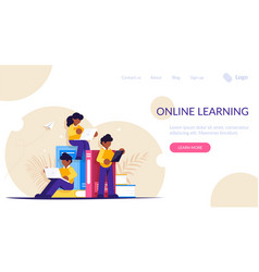 distance or online learning people with portable vector image