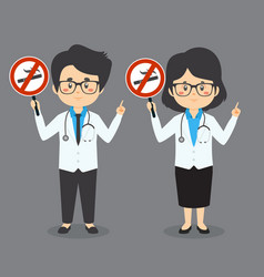 Doctor hold no smoking sign vector