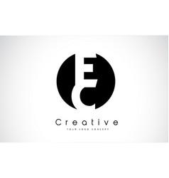 Ec letter logo design inside a black circle vector