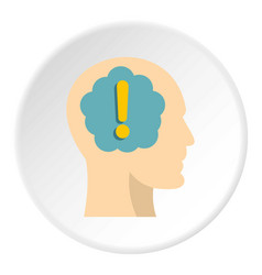 Exclamation mark inside human head icon circle vector