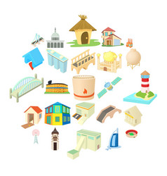 Facility icons set cartoon style vector
