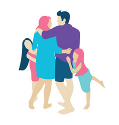 family with two little daughters people concept vector image