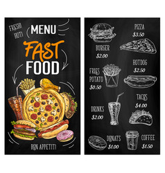 fast food sketch chalkboard menu burgers pizza vector image