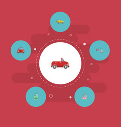 flat icons transport metro chopper and other vector image