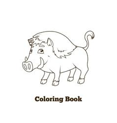 Forest animal boar cartoon coloring book vector
