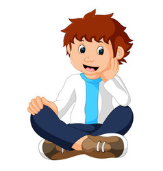 Funny boy sitting vector