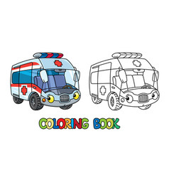 Funny small ambulance car with eyes coloring book vector