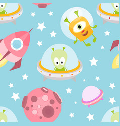 Funny space monsters seamless pattern vector
