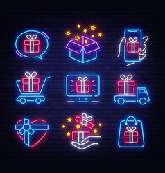 gifts icon set neon design template design vector image