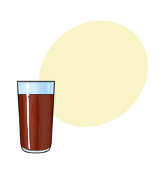Glass of chocolate milk cocoa drink hand drawn vector