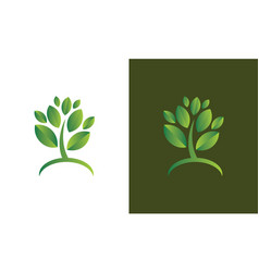 green leaf 3d logo vector image