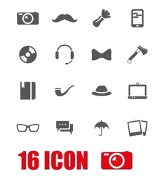 grey hipster icon set vector image
