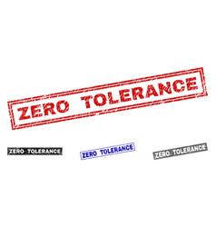 Grunge zero tolerance scratched rectangle stamp vector