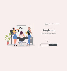 hairdresser using hair dryer making hair style to vector image
