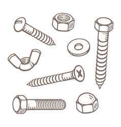 Hand drawn nuts bolts and screws vector