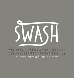 handwitten font with swashes alphabet letters vector image