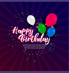 happy birthday celebration banner with confetti vector image