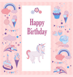 Happy birthday holiday card with rainbow ice vector