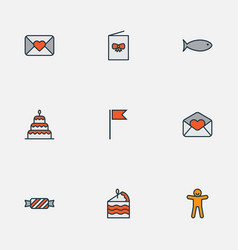 happy icons colored line set with ginger cookie vector image